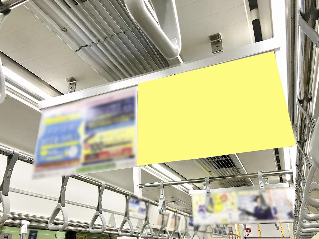 相鉄線の中づりポスターの写真。ドア横ポスターにプラスしてついてきます
