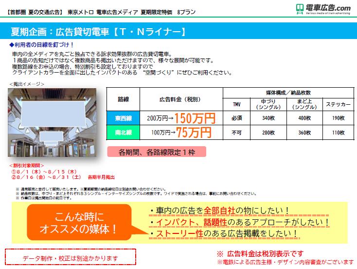 東京メトロ 電車広告メディア 夏期企画:広告貸切電車【T・Nライナー】
