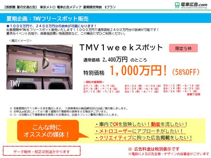 東京メトロ 電車広告メディア TMVフリースポット販売