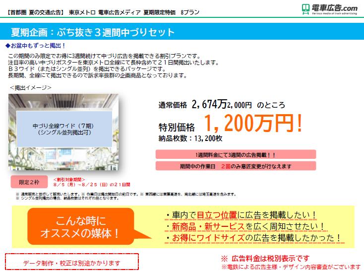東京メトロ 電車広告メディア 夏期企画:ぶち抜き3週間中づりセット