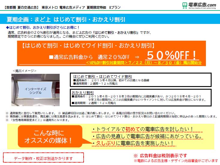 東京メトロ 電車広告メディア 夏期企画:まど上 はじめて割引・おかえり割引
