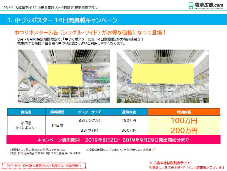 【今だけ大幅値下げ!】 小田急電鉄 8~9月限定 夏期特価プラン1